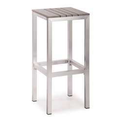 ZUO VIVA - Gotham Bar Stool Gray - The Capital Bar Stool has a sturdy epoxy coated aluminum frame and a slatted faux wood seat and back.