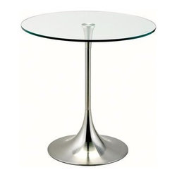 "Adesso - End Table - Trumpet shaped pedestal base with tempered glass table top. Features: -Tempered glass table top.-Trumpet shaped pedestal base.-Collection: Coronet.-Distressed: No.-Powder Coated Finish: No.-Gloss Finish: No.-Base Material: Metal.-Top Material: Glass.-Solid Wood Construction: No.-Hardware Material: Stainless steel.-Nesting Tables: No.-Non-Toxic: No.-UV Resistant: No.-Scratch Resistant: No.-Stain Resistant: No.-Lift Top: No.-Storage Under Table Top: No.-Drop Leaf Top: No.-Magazine Rack: No.-Built In Clock: No.-Drawers Included: No.-Hardware Finish: Brushed steel.-Exterior Shelves: No.-Cabinets Included: No.-Glass Component: Yes -Tempered Glass: Yes.-Beveled Glass: No.-Frosted Glass: No..-Casters: No.-Lighted: No.-Stackable: No.-Reclaimed Wood: No.-Adjustable Height: No.-Outdoor Use: No.-Swatch Available: No.-Commercial Use: Yes.-Recycled Content: No.-Product Care: Wipe clean with a dry cloth.-Built In Outlets: No.-Powered: No.Specifications: -General Conformity Certificate: No.-Green Guard Certified: No.-UL Listed: No.Dimensions: -Base dimensions: 12.5'' Dia.-Table Top dimensions: 19.5'' Dia.-Overall Height - Top to Bottom: 20"".-Overall Width - Side to Side: 19.5"".-Overall Depth - Front to Back: 19.5"".-Drawer: No.-Cabinets: No.-Overall Product Weight: 20 lbs.-Legs: No.Assembly: -Assembly Required: Yes."