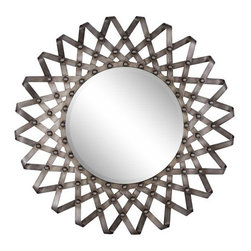 """Home Decorators Collection - Fissare Wall Mirror - Metal and composite wood are shaped into an accordion-inspired design that frames our glass mirror. The wide frame is finished in a dark silver. Infuse rustic charm into your decor with our wall mirror placed above a console table, mantel or bath vanity. Crafted of metal and composite wood. Includes a silver finish. Features a 1"""" beveled glass mirror."""