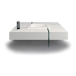 Modern white square floating coffee table Joel - Floating coffee table Joel features original modern design. The white lacquered coffee table top is supported by 19mm tempered clear glass base.