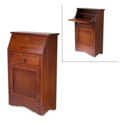 Winsome Trading - Walnut Secretary Desk - A classic design in a warm walnut finish makes this secretary desk a stylish accent to your decor. Made from solid hardwood construction, it features a front cupboard for ample storage and a drop down desk front for an easy writing surface.