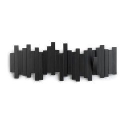 Umbra - Umbra Sticks Wall-mount Rack With Five Hooks, Black - Both sculptural and useful, the Sticks wall-mount multi-hook by Umbra features five sturdy hooks that flip up when not in use, blending seamlessly and transforming this functional piece into a pleasing wall decor element. Molded wood construction. Concealed mounting hardware included.