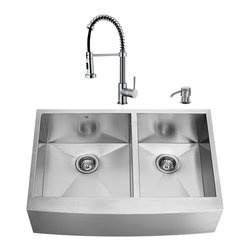 "VIGO Industries - VIGO All in One 36-inch Farmhouse Stainless Steel Double Bowl Kitchen Sink and C - Give your kitchen a complete makeover with a VIGO All in One Kitchen Set featuring a 36"" Farmhouse - Apron Front sink, faucet, soap dispenser, two matching bottom grids and two strainers."