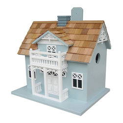 "Home Bazaar Inc. - Danish Cottage Birdhouse - Intricate cut-out details abound in this light blue cottage birdhouse inspired by the typical cottages found lining the coasts of Denmark. The portico and upper front balcony have rich details including beautiful scrollwork trim. There are cross-hatched windows and a central chimney. This style is also decorated on the back side and comes equipped with a mounting bracket. There are two nest boxes, one on each side, with an inner divider. Constructed of exterior grade ply-board and topped with western red cedar shingles, our Danish Cottage has a removable back wall, drainage, ventilation and 1.25"" openings to allow wrens, finches, chickadees, nuthatches and titmice to nest. Intended for outdoor use."