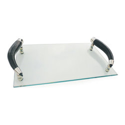 Glass Tray with Curved Horn Handles - This lovely Glass Tray with Curved Horn Handles has elegantly curved handles. The exquisite tray is perfect for savoring anything from cheddar to cream cheese. It can be used for any dinner party or before-dinner aperitif.