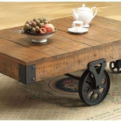 Coaster Country Style Coffee Table - Adding a touch of rustic charm to your space with worn wood is a great way to cozy things up! Cart tables have been trending for a long time, so they might be passé to some, but I still find them charming.