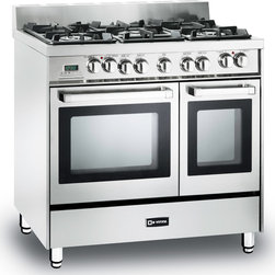 "Verona 36"" Double Oven Dual Fuel Range - Verona 36"" Double Oven Range in Dual Fuel - NEW 40cm Cooktop and quiet hinge close.  Features 2 multi-function convection ovens that can be controlled with a touch control digital clock and timer.  5 high BTU sealed burners with removable cast-iron grates and caps.  Full-width storage compartment."