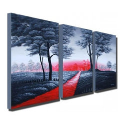 "Fabuart - ""Walk in the Park"" - Modern Grey Tree Painting - 48 x 24in - This beautiful Art is 100% hand-painted on canvas by one of our professional artists. Our experienced artists start with a blank canvas and paint each and every brushstroke by hand."