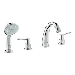 Parkfield™ Roman Tub Filler with Personal Hand Shower - The use of repetitive concentric rings in the Parkfield™ Roman Tub Filler with Personal Hand Shower acts as a transition detail that creates a nostalgic semantic that resonates with precision, performance and superior craftsmanship.