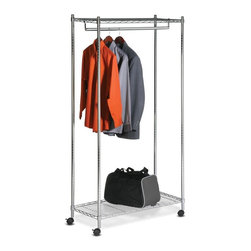 Honey Can Do - Urban Garment Rack- Deluxe Commercial Chrome - Adjustable height- accommodates long coats and garments. Heavy duty steel shelves- sturdy construction. Twin locking casters- easily moved or locked in place. Can hold 20-25 lbs distributed evenly. 17.7 in. x 35.83 in. x 73.2 in.