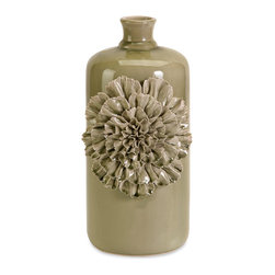 iMax - Norine Small Dimensional Flower Vase - Hand laid ceramic flower petals add dimension to the small Norine vase finished in a soft olive hue.