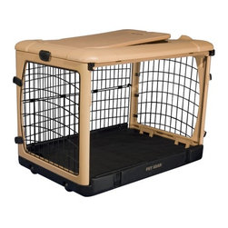 "Pet Gear - Deluxe Steel Dog Crate in Tan - Features: -Top, front and side doors for easy access. -Folds flat for storage. -Sets up in seconds without tools. -Heavy gauge curved steel panels. -Wheels and pull handle make moving easy. -Heavy-duty plastic top holds up to 100 lbs.. -Fits in the backs of most SUVs and vans. -Includes fleece/nylon crate pad. -Includes crate carrying bag. -Available in Brown, Lavender, Ocean Blue, Sage, Pink and Tan. -Small and medium sizes also available separately in Pink and Ocean Blue. SizeDimensionsSuggested BreedsSmall21"" H x 18"" W x 26"" LDachsund, West Highland Terrier, Pembroke Welsh Corgi, Schipperke, Pug, Large CatMedium27"" H x 24"" W x 36"" LBeagle, Boston Terrier, Brittany Spaniel, Chinese Shar-Pei, Chow ChowLarge28"" H x 28"" W x 42"" LSiberian Husky, Dalmation, Golden Retriever, Boxer, Collie"