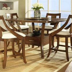Gatsby - Square tables usually don't come with as many curves as this one, not to mention functional storage and a Lazy Susan.
