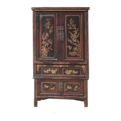Golden Lotus - Chinese Antique Gold Flower Bird Painting Stack Armoire Storage Cabinet - This is a Chinese antique stack armoire which is made of solid elm wood.  It is composed of two pieces.  Particularly, the front of cabinet comes original hand gold flower and bird painting on it.   It is a over hundred years old piece.