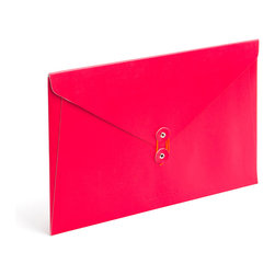 Poppin - Soft Cover Folio, Red - Forget vanilla manila. In your choice of brilliant colors, each of these soft cover folios opens to reveal bright white inside and features a colorful coordinating string closure. Whether you're transporting multimillion-dollar contracts or clipped coupons, carry your papers in high style.