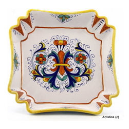 """Artistica - Hand Made in Italy - Ricco Deruta: Square Fancy Bowl - This is the true original version of the most celebrated Deruta's design, which traces its origins to the sixteenth century; the renown """"Ricco Deruta""""."""