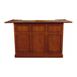 None - Huntley 72-inch Maple Wood Home Bar - The Huntley 72-inch Home Bar is constructed of maple wood and finished in a rich shade of brown. Removable ice buckets, dual bottle wells, plenty of storage shelving and beautiful poplar nosing are some of the great features this bar has to offer.