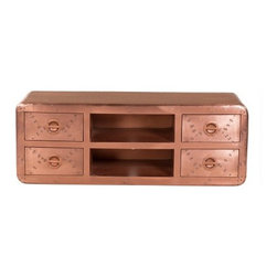 YOSEMITE HOME DECOR - Media Center - Copper, yes it's copper. This unique media cabinet  will turn heads everywhere. Genuine aged copper cladding covers the entire front, sides and top of this stunning table. Four recessed wheels allow for easy relocation. Lacquered for durability and long lasting beauty. The four drawers and fixed center shelf provide ample storage. Plus easy rear access for cord management. Do not use abrasive or ammonia based cleaners. Assembled, Made in India