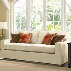 PB Comfort SquareGrand Sofa Knife-EdgeChunky HerringboneIvorySlipcover - Designed exclusively for our versatile PB Comfort Grand Collection, these soft, inviting slipcovers retain their smooth fit and remove easily for cleaning. Grand Armchair with Box Back Cushions shown. Care varies depending on {{link path='pages/popups/fab_leather_popup.html' class='popup' width='720' height='800'}}fabric type{{/link}}. This item can also be customized with your choice of over 93 custom fabrics and colors. For details and pricing on custom fabrics, please call us at 800.840.3658 or click Live Help above. All slipcover fabrics are hand selected for softness, quality and durability. This is a special-order item and ships directly from the manufacturer. To see fabrics available for Quick Ship and to view our order and return policy, click on the Shipping Info tab above. Watch a video about our exclusive {{link path='/stylehouse/videos/videos/pbq_v36_rel.html?cm_sp=Video_PIP-_-PBQUALITY-_-SUTTER_STREET' class='popup' width='950' height='300'}}North Carolina Furniture Workshop{{/link}}.