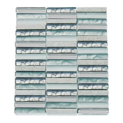 Alloy Iceland 1/2 X 4 Stacked Glass Tile - Alloy Iceland 1/2 x 4 Stacked Glass Tile This beautiful stone mosaic blend of this polished and matte in seafoam green, metallic seafoam green and super white glass with silver quartz leaves the room contemporary and modern. The color is painted on the back of the tile so it will not scratch or chip the color off. The mesh backing not only simplifies installation, it also allows the tiles to be separated which adds to their design flexibility. Chip Size: 1/2 x 4 Stacked Color: Seafoam Green, Metallic Seafoam Green, Super White Material: Glass and Silver Quartz Finish: Polished and Matte Sold by the Sheet - each sheet measures 12x11.75 (.98 sq. ft.) Thickness: 8mm