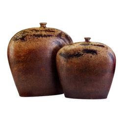"""IMAX CORPORATION - Dark Flat Vessels - Set of 2 - Set of two flat vessels with rustic earthtones. Comes in various sizes measuring around 22""""L X 16""""W X 21.75""""H each. Shop home furnishings, decor, and accessories from Posh Urban Furnishings. Beautiful, stylish furniture and decor that will brighten your home instantly. Shop modern, traditional, vintage, and world designs."""
