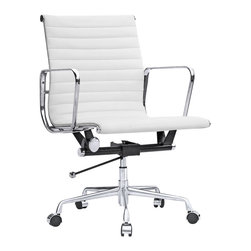 Kardiel Classic 1958 Lider Ribbed Mid Back Aluminum Office Chair, White Italian - The iconic office chair series from which this Kardiel Lider Mid Back reproduction takes its inspiration, was originally developed in 1958. The seat and back rest is made of a continuous single section of leather upholstery stretched taut between two metal ribs. This allows it to subtly conform to the shape of the user's body and makes it comfortable for long periods of sitting. Upgraded Italian leather was selected for the upholstery of this reproduction.  None of the details were overlooked, from the distance of the ribbed stitching to the period correct Atomic metal ball of the height adjusting lever. We understand and offer you the intricacies of the original office series design in this quality reproduction.
