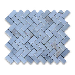 "Stone Center Corp - Calacatta Gold Marble Herringbone Mosaic Tile 1 x 2 Honed - Calacatta gold marble 1"" x 2"" pieces mounted on 12"" x 12"" sturdy mesh tile sheet"