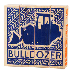 Tree Hopper Toys - Puzzle Blocks, Construction Trucks - A simple yet engaging 4-sided block puzzle that exercises visual and cognitive skills.  Kids and parents alike will appreciate this vibrant, unique puzzle.  When not in use, this hand printed puzzle doubles as a one-of-a-kind art object to help accessorize any shelf in a hip kid's room!