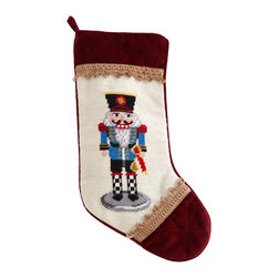 """Horchow - Light Blue Nutcracker Christmas Stocking Plain - Light Blue Nutcracker Christmas Stocking PlainDetailsShown far right.Exclusively ours.Handcrafted with wool needlepoint on face.11""""W x 18""""L.Dry clean.Imported."""