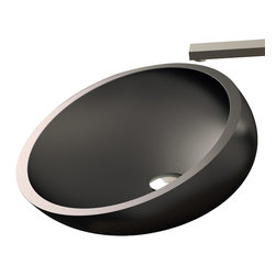 Maestrobath - Vetro Freddo Kool Modern Sink, Black - This uniquely shaped sink wraps around itself in the back and it is slightly declined towards the front. Kool is made out of a material called Vetro Fredo which is a mixture of glass pigments and resin making it extremely resilient to high and low temperatures. The general outline is elliptical and available in three sizes and four dark and warm colors it will look perfect on the countertop of your bathroom with its wide and low profile design.  This contemporary bathroom sink is a focal point of any bathroom.