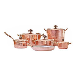 Amoretti Brothers - Amoretti Brothers Copper Cookware Set of 11 - Amoretti Brothers copper 11-piece cookware set contains the following items: 1.3 quart sauce pan with lid 4.4 quart saute pan with lid 5.7 quart sauce pan with lid 9 inch frying pan, 10qt Stock pot and a 2.8 qt sauce pan with long handle. Flower Lid