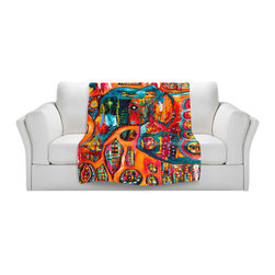 DiaNoche Designs - Throw Blanket Fleece - Abstract Elephant - Original Artwork printed to an ultra soft fleece Blanket for a unique look and feel of your living room couch or bedroom space.  DiaNoche Designs uses images from artists all over the world to create Illuminated art, Canvas Art, Sheets, Pillows, Duvets, Blankets and many other items that you can print to.  Every purchase supports an artist!
