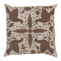 "Surya LD022-2020D 100% Linen w/ Cotton Detail 20"" x 20"" Decorative Pillow - This simple design is a classic touch to any room. This pillow has a down fill and a zipper closure. Made in India with one hundred percent Linen and cotton detail, this pillow is durable and priced right. Filler: Down Feathers. Shape: Square"