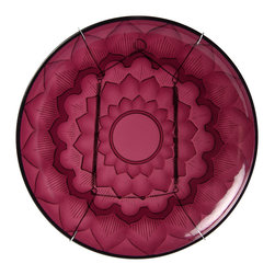 Vintage Maya - Jamun Wall and Table Plate - Forget the food, this vibrantly colored plate would look stunning on your wall. The deep purple serving piece features a sophisticated lotus design that's almost too pretty to cover up.