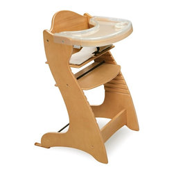 Badger Basket - Badger Basket Embassy Adjustable Wood High Chair with Tray - Natural Multicolor - Shop for Highchairs from Hayneedle.com! The Badger Basket Embassy Adjustable Wood High Chair with Tray - Natural will serve the whole family! It's perfect for babies about 6 months old or who can sit unassisted but that's not all. It can be used as a chair for adults up to 175 pounds! Modern and sleek this high chair is constructed of poplar wood in a natural finish. It features a nylon cushion with a cotton/poly cover that can be tossed in the washing machine. The chair comes with two trays and a harness to keep baby secure. Its easily assembled with a simple Allen wrench and the seat is adjustable in height. Also included is a glide extension component to use with certain tables. The Badger Basket Embassy Adjustable Wood High Chair with Tray is a hip high chair for your hip little baby. Badger Basket CompanyFor over 65 years Badger Basket Company has been a premier manufacturer of baskets bassinets bassinet bedding changing tables doll furniture hampers toy boxes and more for infants babies and children. Badger Basket Company creates beautiful and comfortable products that are continually updated and refreshed bringing you exciting new styles and fashions that complement the nostalgic and traditional products in the Badger Basket line.