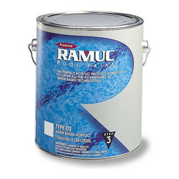 RAMUC Pool Paint - Type DS Swimming Pool Paint - White (5 Gallon/Pail) - Water based acrylic white swimming pool paint 5 gallon. Up to 2 years service life. 175-200 sq ft/gal on bare surface. 350-400 sq/ft on recoat and second coat. Can be roller, sprayed or brushed. Short downtime. Can be used on damp surfaces. Great for Koi Ponds. 1 day prep, 3 days outdoor dry, ready to fill.