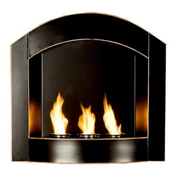 Holly & Martin - Topher Wall Mount Arch Fireplace - Finished in a lustrous ebony and trimmed in copper, this arched wall mount fireplace is exceedingly striking looking. The design is modern without being too avant garde and, therefore, is a more versatile piece. In terms of function, the fireplace is conveniently gel fuel powered. Holds three cans of fireglo gel fuel. Hangs on wall just like a picture. Made from Metal. No assembly required. 27 in. W x 6 in. D x 25.75 in. H (24 lbs.)Enliven any space with this wall mount gel fuel fireplace. This piece is small enough to go anywhere and can be hung as easily as a picture. The attractive arch top of this fireplace stands out against any wall making it a definite eye catcher. Finished in matte black with copper edges revealed from distressing, the finish is designed to fit well with both contemporary and transitional styling. This wall mount fireplace will hold up to 3 cans of gel fuel providing a rich fiery glow perfect for relaxation. Each can lasts up to 3 hours on a single burn and puts off up to 3,000 BTU's. Gel fuel must be purchased separately. This wall mount fireplace also makes a convenient and unique space for burning and displaying candles simply by placing the included snuffer cover on top of the gel fuel can openings.