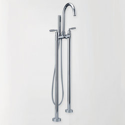Double Handle Floor Standing Bathtub Faucet - This modern Stev double-handle floor-mounted clawfoot tub filler faucet will add versatility to any bathroom decor. Constructed from solid brass for durability and reliability, finished in a high quality, corrosion resistant Polished Chrome.