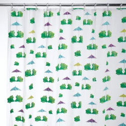 Interdesign - Interdesign Frogs 72-Inch x 72-Inch EVA Shower Curtain - Create a unique and fun look in your bathroom with this shower curtain covered in toy frogs sitting under paper umbrellas.