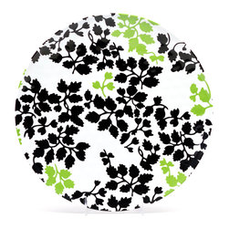 """Q Squared NYC - 13"""" Round Platter Victorian - White/Black/Green Leaves - A lacy veil of leaves dapples the surface of this charming serving platter. Made of easy-care melamine that's been treated with a hammered finish, this durable serving piece would make a delightful addition to your table — whether you're entertaining indoors or out."""