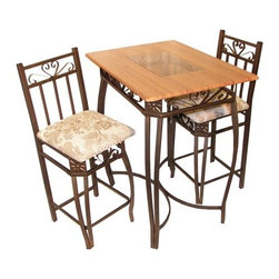 Hazelwood Home - Barcelona Three Piece Bar Table Set - Features: -Set includes bar table and two stools. -Metal, glass and wood construction. -Assembly required. -Manufacturer provides one year warranty on parts replacement.