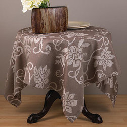 None - Cappuccino Floral 60-inch Square Tablecloth - A swirling ivory floral pattern lends a beautiful contrast to the cappuccino backdrop of this square tablecloth. This table topper features a durable polyester construction for easy care and durability.