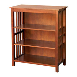 DonnieAnn - Wooden 36 in. Bookcase - Finish: Brushed Nickel door knobShelf:26 x13. One fixed shelf and Two adjustable shelvesCare and Cleaning: Wipe Clean With a Dry Cloth. 30.5 in. W x 14 in. D x 36 in. H (35 lbs)Bookcase in chestnut finish with 1 fixed and 2 adjustable shelves. This bookcase will meet your storage needs for books, magazine and display your collectible sets.