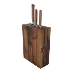 Pott - Sarah Wiener - Knife Block, Walnut Wood - Heritage, meet innovation. This handsomely crafted walnut knife block not only stores and protects your cutlery, it also opens like a book, giving you easier access to your knives and offering a rich walnut cutting board in the process.