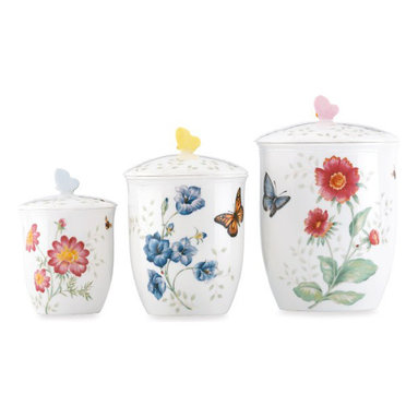 Lenox Butterfly Meadow Canisters - These cute ceramic jars are perfect for holding everyday staples like flour, sugar or even dog biscuits.