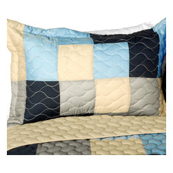 Blancho Bedding - Russian Coffee 3PC Vermicelli-Quilted Patchwork Quilt Set  Full/Queen Size - The [Russian Coffee] 100% TC Fabric 3PC Vermicelli-Quilted Patchwork Quilt Set (Full/Queen Size) includes a quilt and two quilted shams. This pretty quilt set is handmade and some quilting may be slightly curved. The pretty handmade quilt set make a stunning and warm gift for you and a loved one! For convenience, all bedding components are machine washable on cold in the gentle cycle and can be dried on low heat and will last for years. Intricate vermicelli quilting provides a rich surface texture. This vermicelli-quilted quilt set will refresh your bedroom decor instantly, create a cozy and inviting atmosphere and is sure to transform the look of your bedroom or guest room. (Dimensions: Full/Queen quilt: 90.5 inches x 90.5 inches; Standard sham: 24 inches x 33.8 inches)