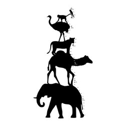 Dana Decals - Animal Tower Growth Chart Wall Decal - Animal Safari Zoo Tower Kids Growth Chart