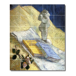 Picture-Tiles, LLC - Still Life With A Plaster Statuette And Books Tile Mural By Vincent Va - * MURAL SIZE: 48x40 inch tile mural using (30) 8x8 ceramic tiles-satin finish.