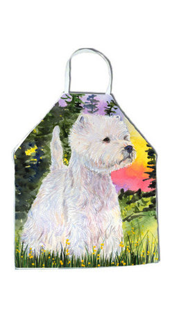Caroline's Treasures - Westie Apron SS1067APRON - Apron, Bib Style, 27 in H x 31 in W; 100 percent  Ultra Spun Poly, White, braided nylon tie straps, sewn cloth neckband. These bib style aprons are not just for cooking - they are also great for cleaning, gardening, art projects, and other activities, too!