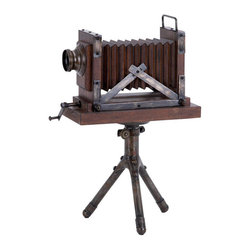 Benzara - Wood Metal Camera 17in.H, 11in.W Unique Home Accents - Size: 11 Wide x 8 Depth x 17 High (Inches)